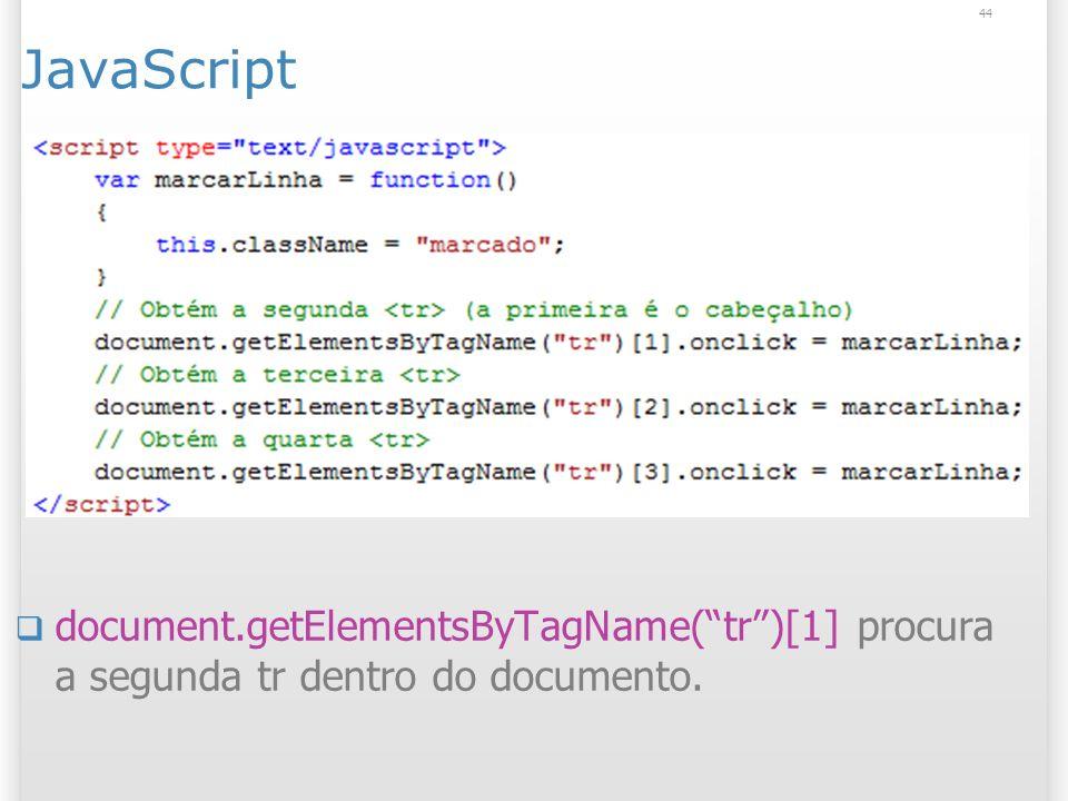JavaScript document.getElementsByTagName( tr )[1] procura a segunda tr dentro do documento.